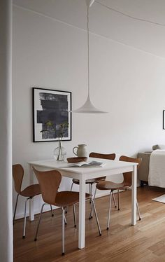 I like the simplicity of the interior of this apartment. I would personally add a little bit more character to the place if I would live there, but I like the basic setup. The furniture is kept very minimal and … Continue reading → Dining Room Inspiration, Small Space Living, Simple House, Apartment Living, Decoration, Home Kitchens, Living Room Decor, Sweet Home, Interior Design