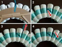 rolled diaper wreath step 4 criss cross wrap