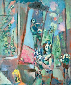 "Gennady Glakhteev ""At the Blue Workshop"" 1972 75х63  Геннадий Глахтеев ""В голубой мастерской"" 1972 75х63"