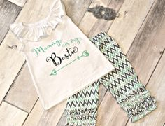 Mommy is by bestie baby toddler girl shirt leggings outfit Cute Outfits For Kids, Cute Kids, Little Girl Fashion, Kids Fashion, Shabby Chic Headbands, Cute Baby Clothes, Little Princess, Baby Love, Baby Kids