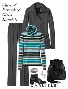 """""""Carlisle: CITYSCAPE jacket and pant with MONTCLAIR striped sweater."""" by carlislecollection ❤ liked on Polyvore featuring Alexis Bittar, Gucci, WorkWear, casualoutfit, CarlisleCollection, athleisure and holiday2015"""