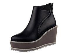Katypeny Women's Elastic Round Toe Wedge Heel Platform An…