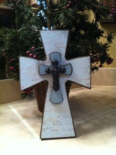 Small Wood Cross with Blue and Brown Designer by SignsBYDebbieHess, $20.00