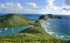 British Virgin Islands. You can see The North Sound, The Caribbean and the Atlantic