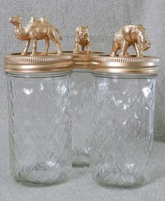 animal jars / gold / fathers day gift / grad gift / elephant / camel / tiger / storage / canisters / mason jars. $32.00, via Etsy.