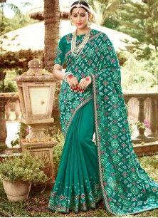 Divine Sea Green Jacquard Classic Saree
