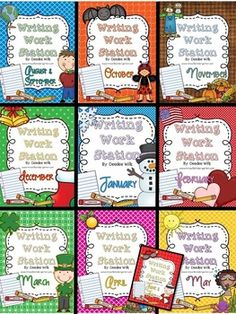 """Writing Work Station or Writing Center resources for the whole YEAR!  Help your students work independently with these monthly themed writing work station or writing center. It includes:  *OVER 480 vocabulary cards   *Four types of writing paper (story, list, labeling, and cards/note)  *""""I Can..."""" charts for each of these types of writing."""
