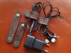 Leather cable organizer 4 PCs  Leather by LeatherWorldHandmade