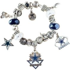 Pre-owned  Pandora Bracelet W/european Charms Dallas Cowboys Theme (€160) ❤ liked on Polyvore featuring jewelry, bracelets, accessories, beaded jewelry, pre owned jewelry, bead bracelet, charm jewelry and pandora jewelry