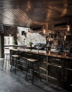Checkout this rather cool bar located in Sydney, Australia. Donny 's Bar was designed by Luchetti Krelle and resembles a New York loft with its high ceilings Bar Interior Design, Cafe Design, House Design, Room Interior, Design Exterior, Design Layout, Design Living, Design Design, Wine Bar Design