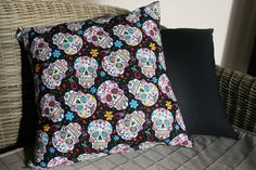 Day Of The Dead Cushion Sugar Skull Cushion by BlossomvioletCrafts