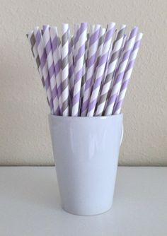Paper Straws - Lavender / Light Purple and Light Gray / Grey and White Striped Party Straws (25) And Printable Drink Flags