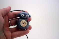 Silver Polymer Clay Robot Necklace with watch in belly by Cyclop, $16.00