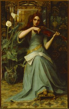 GIRL WITH A VIOLIN by Henry Harewood Robinson (op.1884-1896) featured at Lanhydrock, Cornwall. It shows a rather sad lady in a long green dr...