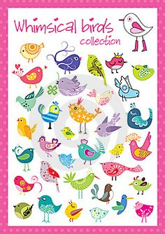 Royalty Free Stock Photos: Whimsical birds collection