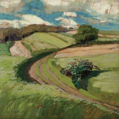 Landscape Paintings and photographs Picture Description Alois Kalvoda (Czech, Field Road, Javornice. Oil on cardboard, 30 x 30 cm. Art And Illustration, Landscape Art, Landscape Paintings, Wow Art, Paintings I Love, Land Scape, Painting Inspiration, Painting & Drawing, Art Photography