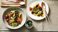 Charred cos, kalamata olives and tomato Olive Recipes, Italian Recipes, Tomato Season, Sbs Food, Sydney Restaurants, Kalamata Olives, Vegetarian Paleo, Food Preparation, Side Dishes