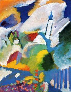 Kandinsky, Murnau mit Kirche, 1910, olieverf op doek, 64.7 x 50.2 cm, Städtische Galerie im Lenbachhaus, München