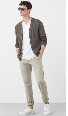 Cardigan fin jaspé - Gilets et pull-overs pour Homme MANGO Man France Semi Formal Outfits, Outfits Casual, Stylish Mens Outfits, Mode Outfits, Fashion Outfits, Fashion Boots, Chinos Men Outfit, Outfit Jeans, Cardigan En Maille