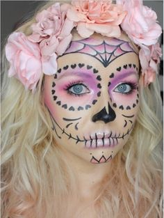 Hair and makeup on point. NZ makeup artist @rebekahbanks rocking this sugar skull look she created