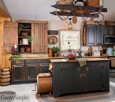 Colonial Kitchen, Farmhouse Style Kitchen, Rustic Kitchen, Country Kitchen, Kitchen Decor, Farmhouse Kitchens, Kitchen Ideas, Primitive Kitchen Cabinets, Above Kitchen Cabinets