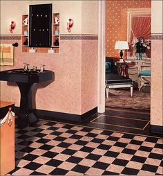 1930s Bathroom Design    This 1933 bathroom with its pink and black linoleum, black sink, and textured walls has a lot of design chutzpah. I love the juxtaposition with the white on orange polka dot wallpaper in the adjacent room. My notes say it was an Armstrong ad, but I'll have to double check that.    Source: American Home  Image from the Antique Home & Style collection.