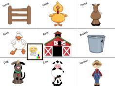 farm preschool bingo
