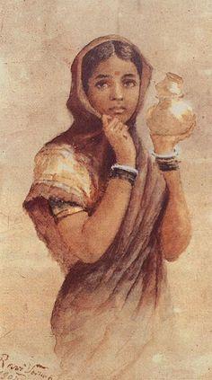 Raja Ravi Verma, artist. Subject: The Milkmaid.