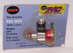 Early New In Package Cox Pee Wee R/C Model Airplane Engine W/ Throttle & Muffler