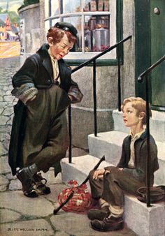 """Oliver's first meeting with the artful Dodger (from 'Oliver Twist'). """"Dickens's Children"""" illustrated by Jessie Willcox Smith (1912)"""