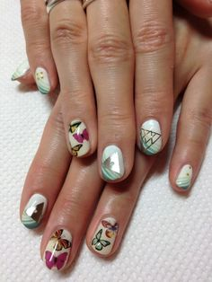 butterfly & triangle nails