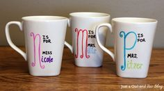 diy mug design - Google Search Cute for your kids' teachers for birthdays or Christmas! Love this idea.