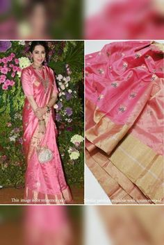 Pink Handloom Chanderi Silk... Chanderi Silk Saree, Silk Sarees, Celebrity Look, Pink Fabric, Look Alike, Occasion Wear, How To Look Classy, Exclusive Collection, Sari