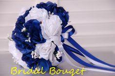 One Wedding Bridal Bouquet Royal Blue,White(corsage,Boutonniere,Centerpiece Ava) on eBay!