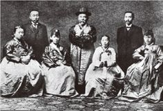 Prince Ito Hirobumi, the First Resident-General of Korea and the first Prime Minister of Japan (center), wearing the traditional Korean attire Hanbok, and his wife (front row, second left). Hoping for Korea's independence, Prince Ito respected Korean culture and tried to blend in with the Korean society. He was assassinated by a Korean nationalist.