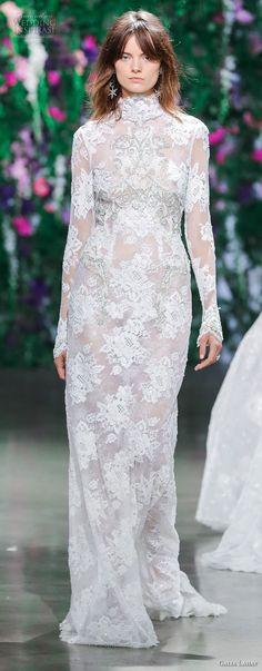 galia lahav fall 2018 bridal long sleeves high neck full embellishment elegant modest sheath wedding dress (16) mv -- Galia Lahav Couture Fall 2018 Bridal Runway Show