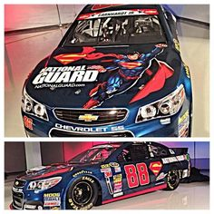 Dale Jr.'s Superman paint scheme, as driven in the May, 2014 Coca Cola 600 race in Charlotte N.C.