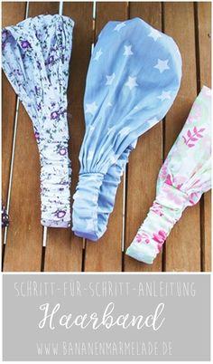 DIY-Näh-Anleitung: Kopftuch/Haarband - Fabric Crafts for Diy and Crafts Sewing Headbands, Fabric Headbands, Fabric Crafts, Sewing Crafts, Sewing Projects, Headband Pattern, Diy Headband, Turban Headband Tutorial, Turban Headbands
