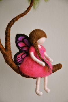 Girls Mobile Waldorf inspired needle felted : Pink Butterfly fairy in a branch. $70.00, via Etsy.