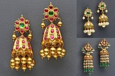 Latest Collection of best Indian Jewellery Designs. Silver Jewellery Indian, Indian Jewellery Design, Latest Jewellery, Jewelry Design, Kerala Jewellery, Jewellery Box, Gold Jhumka Earrings, Gold Earrings Designs, Necklace Designs