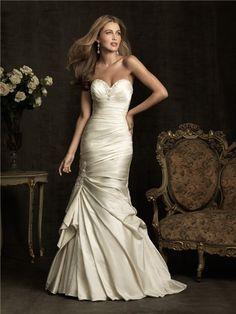 cream mermaid bridal gowns | ... Mermaid Sweetheart Ivory Cream Satin Ruched Wedding Dress Corset Back