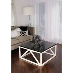 Kate and Laurel Kaya Square Coffee Table in White/Walnut