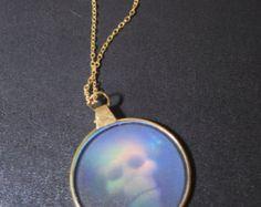Vintage 90's Skull Hologram Charm on Gold Chain