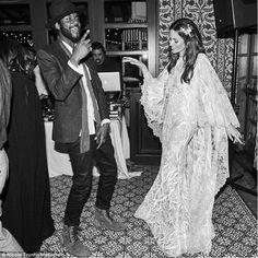 Nicole Trunfino boho chic wedding dress for the reception party with husband Gary Clark Jr.
