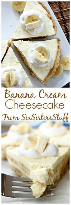 38 Best Cheesecake Recipes Ever Created, DIY and Crafts, Best Cheesecake Recipes - Banana Cream Cheesecake - Easy and Quick Recipe Ideas for Cheesecakes and Desserts - Chocolate, Simple Plain Classic, New Yo. Banana Cream Cheesecake, Best Cheesecake, Cheesecake Recipes, Protein Cheesecake, Cheesecake Cupcakes, Brownie Desserts, Just Desserts, Spring Desserts, Spanish Desserts