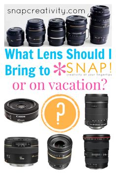 What lens should I bring to a blog conference or on vacation? This guide is awesome- so many ideas to get the best pictures without weighing down your camera bag!