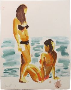 Two Girls on a Beach, Eric Fischl, 2015, painting
