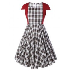 94dbece8f76039 Plus Size Checked Midi Pin Up Dress With Sleeve