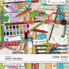 Got some little creative folks to scrap or even do some journaling art layouts with this fabulous kit.  Little Artist Scrap Kit by Designs by Laura Burger