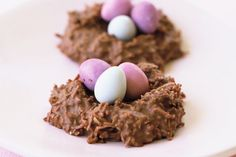 These chocolate nests filled with Easter eggs add festive flair to the Easter table.